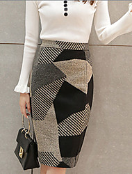 Women's A Line Geometric Split Skirts,Going out Street chic High Rise Knee-length Zipper Polyester / Wool Micro-elastic Fall / Winter