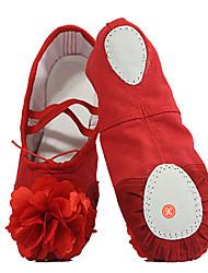 cheap -Kids' Ballet Canvas Flat Practice Satin Flower Flat Heel White Black Red Blushing Pink Non Customizable