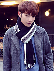 cheap -Men Vintage Casual Long Color Stitching Autumn and Winter Warm Knitted Wool Stripes Scarves Tassel Shawl