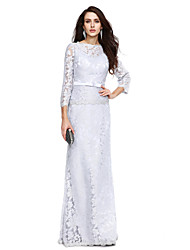 cheap -Sheath / Column Bateau Neck Floor Length Lace Mother of the Bride Dress with Bow(s) Sash / Ribbon by LAN TING BRIDE®