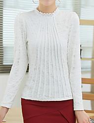 abordables -Mujer Algodón Camiseta, Escote Chino Un Color