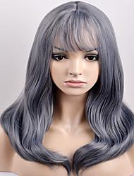 billige -Syntetiske parykker Lige Syntetisk hår Grå Paryk Dame Medium Længde Lågløs Grå