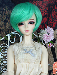 1/3 1/4 BJD SD DOD Doll Wig Accessories Short Straight Bluish Green Color Hair Wig Not for Human Adult