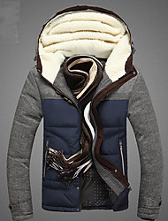 cheap -Men's Padded - Solid Colored Hooded