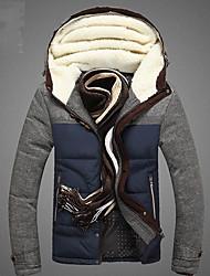 Manteau Rembourré Hommes,Normal simple Décontracté / Quotidien Couleur Pleine-Coton Coton Manches Longues Bleu / Vert Capuche