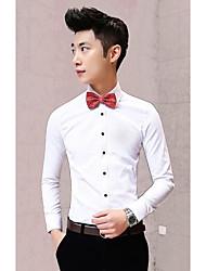 billige -Herre - Ensfarvet Bomuld Simple Arbejde Skjorte