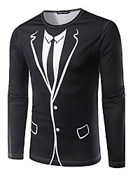 New Arrival Men's Casual/Daily Simple Spring / Autumn ShirtSolid Round Neck Long Sleeve Black Polyester Medium