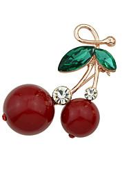nova strass cereja forma broches jóias bonito