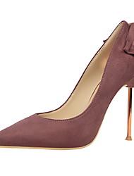 preiswerte -Damen Schuhe Wildleder Winter Komfort High Heels Stöckelabsatz Geschlossene Spitze Spitze Zehe Schleife für Kleid Fuchsia Rot Rosa