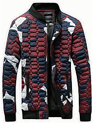 Men's Regular Padded Coat,Simple Going out Casual/Daily Holiday Color Block-Polyester Polyester Long Sleeves