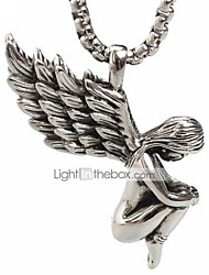cheap -Punk Style Pendant Charm Necklace 316L Stainless Steel Retro Angel Wings Shape Men And Women Jewelry