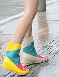 Для женщин Обувь Лакированная кожа Зима Осень Удобная обувь Резиновые сапоги Ботинки Туфли на танкетке Комбинация материалов для