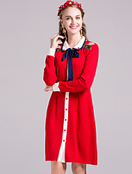By Megyn  Women's Casual/Daily Simple Sheath DressEmbroidered Shirt Collar Above Knee Long Sleeve Blue / Red Others Fall Mid Rise Inelastic Medium