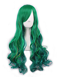 cheap -yuyi the mermaid cosoplay wig green long body wave fashion hairstyle celebrity lady gaga wear s hair heat resistant daily wig Halloween