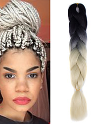 "1 Pack Black Ombre Creamy White Crochet 24"" Yaki Kanekalon Fiber 100g 2 Tone Jumbo Braids Synthetic Hair"