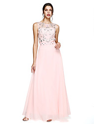 cheap -A-Line Illusion Neck Floor Length Chiffon Prom / Formal Evening Dress with Beading / Crystals / Sash / Ribbon by TS Couture® / Sparkle & Shine / Beautiful Back