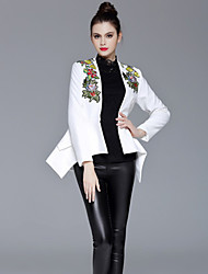 ZIYI Women's Casual/Daily Simple CoatEmbroidered Deep V Long Sleeve Fall / Winter White Polyester
