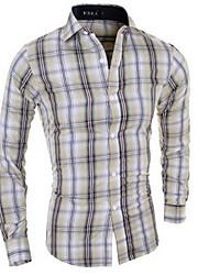 baratos -Homens Camisa Social Diário Para Noite Casual Outono, Estampa Colorida Algodão Colarinho de Camisa Manga Longa