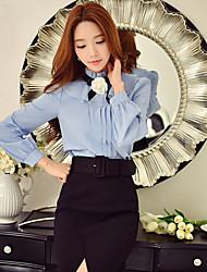 Feminino Camisa Social Informal / Casual / Festa/Coquetel estilo antigo / Fofo / Sofisticado Primavera / Outono,Sólido Azul / Branco