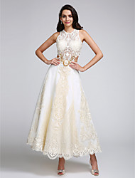 cheap -A-Line Jewel Neck Ankle Length Lace Over Satin Custom Wedding Dresses with Appliques Lace by LAN TING BRIDE®