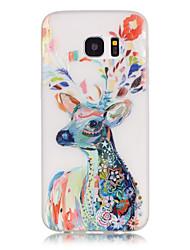baratos -Para Samsung Galaxy S7 Edge Brilha no Escuro / Estampada Capinha Capa Traseira Capinha Animal Macia TPU SamsungS7 edge / S7 / S6 edge