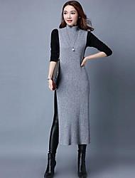 abordables -Mujer Punto Vestido Noche Trabajo Playa Sexy Bonito Tejido Oriental,Un Color Escote Chino Midi Sin Mangas Algodón Otoño Tiro Medio