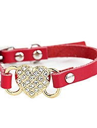 cheap -Dog Collar Adjustable / Retractable Mosaic Hearts Rhinestone PU Leather Red Blue Pink