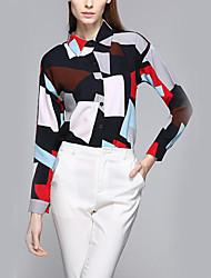 cheap -Women's Daily Casual Winter Fall Shirt,Geometric Shirt Collar Long Sleeves Polyester Medium