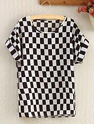 Mulheres Blusa Casual Simples Verão,Quadriculada Manga Curta Fina