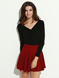 cheap -Women's Daily Mini Skirts, Cute A Line Polyester Solid All Seasons