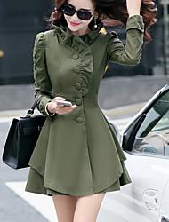 Femme volant Manteau,Couleur Pleine Décontracté/Quotidien simple/Chic de Rue Manches Longues Mao Rose/Vert/Jaune Polyester MoyenAutomne