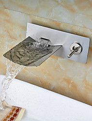 cheap -Bathroom Sink Faucet - Waterfall Nickel Brushed Wall Mounted Two Holes Single Handle Two Holes