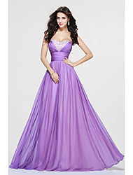 A-Line Sweetheart Floor Length Chiffon Bridesmaid Dress with Beading Side Draping by LAN TING BRIDE®