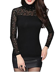 cheap -Women Autmn Elegant Lace TurtleNeck  Long Sleeve Pullover Highneck T Shirt