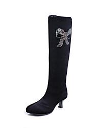 Недорогие -Для женщин Латина Джаз Танцевальные сапожки Замша Ботинки Концертная обувь Стразы На низком каблуке Черный Не персонализируемая