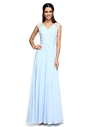 cheap -A-Line V Neck Floor Length Chiffon Bridesmaid Dress with Draping / Criss Cross / Ruched by LAN TING BRIDE®