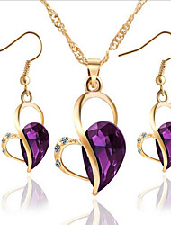 cheap -Women's Crystal / Synthetic Diamond Jewelry Set - Heart Include Purple / Green / Blue For Party / Daily