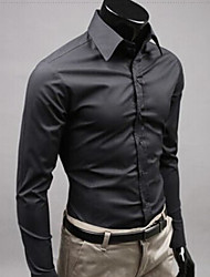 Недорогие -Муж. Офис Рубашка Тонкие Деловые / Уличный стиль Однотонный Желтый / Длинный рукав