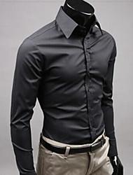 cheap -Men's Wedding Formal Work Cute Casual Street chic All Seasons Shirt,Solid Shirt Collar Long Sleeves Cotton Polyester