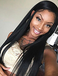 cheap -Glueless Lace Front Wigs Natural Black Silk Straight Wigs Brazilian Virgin Human Hair For Women