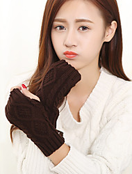 cheap -Women's Knitwear Wrist Length Half Finger Cute/ Party/ Casual Winter Black/White/Brown/Gray Gloves