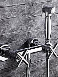 abordables -Robinet Bidet - Douche Chrome Montage mural 2 trous Deux poignées Deux trous