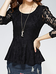 cheap -Women's Plus Size Nylon T-shirt - Solid, Lace