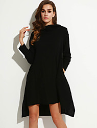 cheap -Women's Going out Street chic Loose Dress,Solid Hooded Asymmetrical Long Sleeve Red / Black Polyester Fall