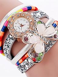 Xu™ Dámské Módní hodinky Náramkové hodinky Křemenný PU Kapela Retro Motýl Běžné nošení Černá Bílá Modrá Červená Růžová IvoryFuchsiová