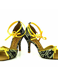 cheap -Women's Latin Salsa Lace Silk Sandal Heel Professional Performance Buckle Ribbon Tie Customized Heel White Light Yellow Red Customizable