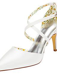 cheap -Women's Heels Spring / Fall  Stretch Satin Wedding / Party & Evening Stiletto Heel Buckle Ivory / White