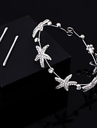 Women's Lace Crystal Imitation Pearl Chiffon Headpiece-Wedding Special Occasion Casual Office & Career Head Chain Hair Tool 1 Piece