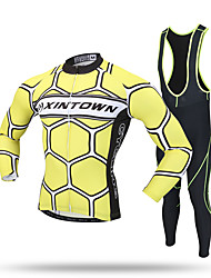 XINTOWN Cycling Jersey with Bib Tights Men's Long Sleeves Bike Fleece Jackets Jersey Bib Tights Pants/Trousers/Overtrousers Tracksuit Zip
