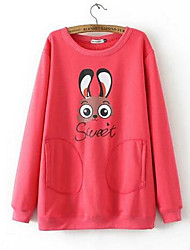 Women's Going out / Casual/Daily Simple Regular Pullover,Solid Red / Black Round Neck Long Sleeve Cotton Spring / Fall Medium
